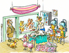 Cartoon: dog parlour (small) by GB tagged hunde salon tiere animals wellness schönheit massage dauerwelle shop dog