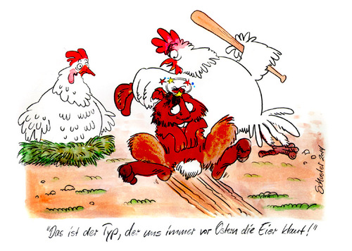 Cartoon: Ostern (medium) by Mario Schuster tagged ostern,schuster,mario,cartoon,karikatur,hase,huhn,hahn