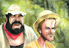 Cartoon: Bud Spencer und Terence Hill (small) by Mario Schuster tagged bud,spencer,terence,hill,karikatur,cartoon,mario,schuster