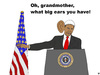 Cartoon: Grandmother Obama (small) by thalasso tagged prism,präsident,president,obama,internet,survaillance,überwachung,us,tempora,spionage,bespitzelung,telekommunikation,spähprogramme,datenschutz,security,sicherheit