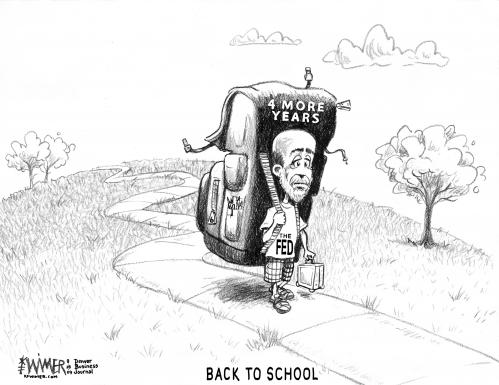 Cartoon: Bernanke Back to School (medium) by karlwimer tagged bernanke,economy,federal,reserve,fed,school,backpack,obama