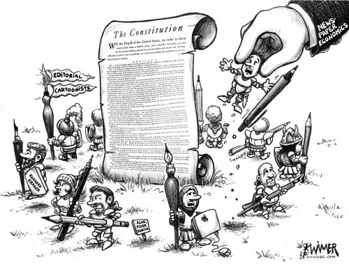 Cartoon: Constitution Defenders (medium) by karlwimer tagged constitution,cartoonist,knights,disappearing