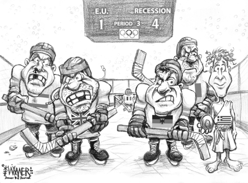 Cartoon: EU team issues (medium) by karlwimer tagged eu,europe,european,union,greece,olympics,hockey,discus,economics,politics