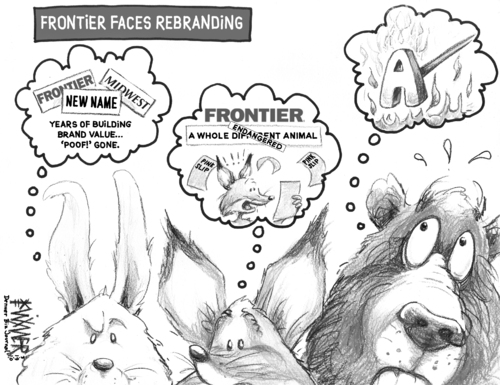 Cartoon: Frontier Rebrand (medium) by karlwimer tagged airline,frontier,animals,rabbit,fox,bear,republic,midwest,business,economics,us