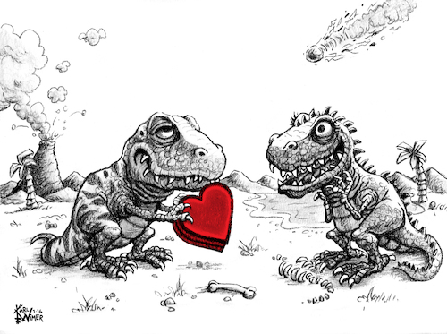 Cartoon: Jurassic Love Dinosaur Valentine (medium) by karlwimer tagged dinosaur,valentine,jurassic,love,meteor,tyrannosaurus,heart
