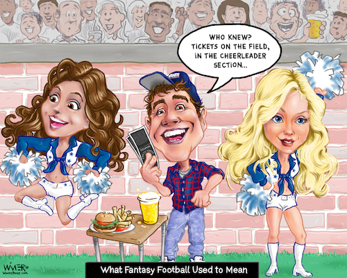 Cartoon: Old School Fantasy Football (medium) by karlwimer tagged fantasy,football,nfl,cheerleaders,tickets,american,sports