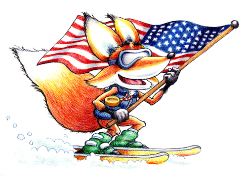 Cartoon: Sammy Adaptive Ski (medium) by karlwimer tagged fox,ski,snowboard,winter,sports,paralympics