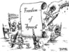 Cartoon: Freedom of Speech Cartoon (small) by karlwimer tagged hebdo,freedom,speech,cartoonist,france,illustrator,terrorism