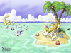Cartoon: Gold Refuge (small) by karlwimer tagged gold,economy,business,bank,central,euro,island,nugget,ship,market