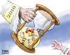 Cartoon: New Years Handoff 11 (small) by karlwimer tagged newyear,2010,2011,business,economics,unemployment,northkorea,politics,war,deficit,debt