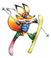 Cartoon: Sammy Daffy Ski Jump (small) by karlwimer tagged fox,ski,snow,wintersports,skis,poles,winter