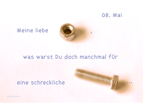 Cartoon: Muttertag (medium) by droigks tagged mother,nut,screws,day,mothers,schraube,muttertag,mutter,mutter,muttertag,schraube