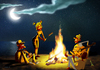 Cartoon: chillen am Lagerfeuer (small) by droigks tagged lagerfeuer,chillen,stockbrot,strand,nacht,sterne,musik,freunde