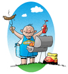 Cartoon: King of Barbecue (small) by droigks tagged grill grillen droigks grillmeister master of barbecue bbc grillsaison steak bratwurst camping