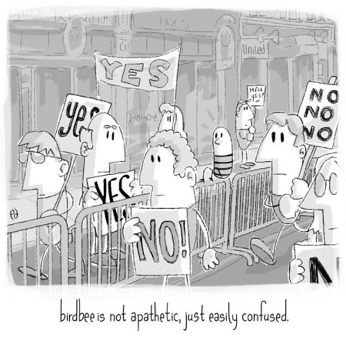 Cartoon: birdbee - protest (medium) by birdbee tagged birdbee,protest,march,issues,politics,confused,fence