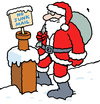 Cartoon: Santa on roof foiled by sign (small) by Ellis Nadler tagged santa,claus,xmas,christmas,presents,sack,snow,roof,chimney,winter,beard,red,sign,junk,mail