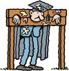 Cartoon: Teacher in pillory (small) by Ellis Nadler tagged teacher,pillory,stocks,punishment,headmaster,professor,mortarboard,gown,humiliation,frown,egg,tomato,school