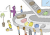 Cartoon: Baggage claim (small) by joruju piroshiki tagged grim,reaper,god,of,death,coffin,casket,aieplane,airport