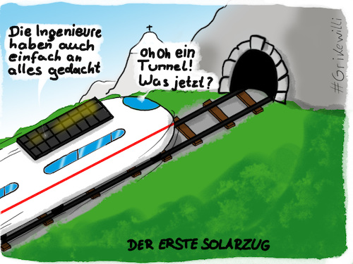 Cartoon: Erster Solar-Zug (medium) by Grikewilli tagged ice,db,zug,bahn,öko,solar,alpen,berge,berg,gebirge,tunnel,reisen,verkehr,grün,erfindungen,zukunft,innovation,schweiz,österreich,deutschland