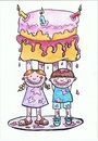 Cartoon: Cake For Mum (small) by Kerina Strevens tagged cake,bake,children,mess,parents,mother,mum,love,family