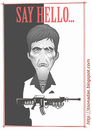 Cartoon: Scarface (small) by Freelah tagged al,pacino,scarface,little,friend