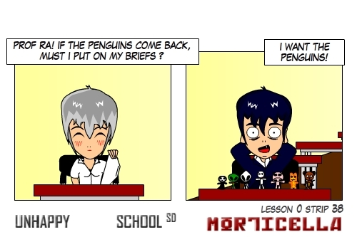 Cartoon: US lesson 0 Strip 38 (medium) by morticella tagged uslesson0,unhappy,school,morticella,manga