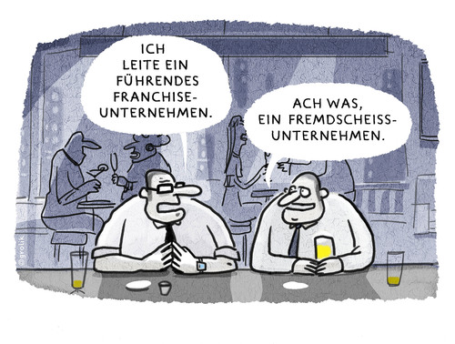Cartoon: Afterwork-Karriereplausch.... (medium) by markus-grolik tagged karriere,geld,franchise,franchising,sub,unternehmer,unternehmen,wirtschaft,kohle,angeber,geschäftsidee,vermieten,cartoon,grolik