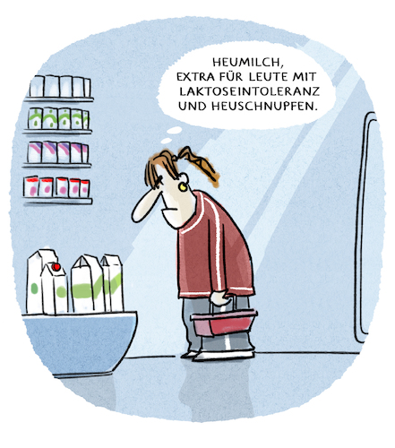 Cartoon: ...Allergien... (medium) by markus-grolik tagged milch,supermarkt,lebensmittel,allergie,heuschnupfen,heumilch,laktose,zivilisationskrankheit,konsum,milch,supermarkt,lebensmittel,allergie,heuschnupfen,heumilch,laktose,zivilisationskrankheit,konsum