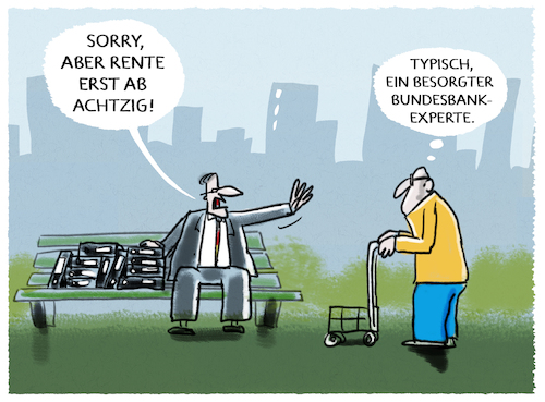 Cartoon: Aussichten (medium) by markus-grolik tagged rente,renteneintrittsalter,bundesbank,deutschland,demografie,rente,renteneintrittsalter,bundesbank,deutschland,demografie