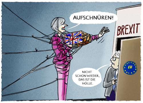 Cartoon: ...die Wiedergängerin... (medium) by markus-grolik tagged brexit,paket,deal,may,juncker,tusk,brüssel,london,backstop,nordirland,irland,großbritannien,brexit,paket,deal,may,juncker,tusk,brüssel,london,backstop,nordirland,irland,großbritannien