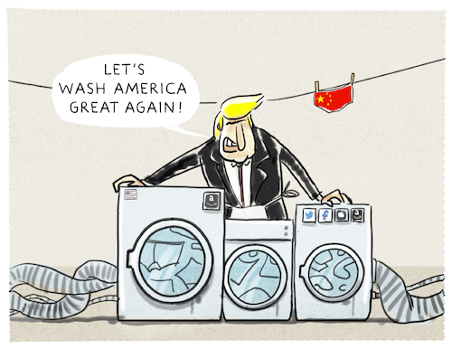 Cartoon: Handelskrieg... (medium) by markus-grolik tagged trump,handel,freihandel,zölle,waschmaschinen,solarzellen,china,peking,washington,seoul,südkorea,freihandelsabkommen,absatz,grolik,trump,handel,freihandel,zölle,waschmaschinen,solarzellen,china,peking,washington,seoul,südkorea,freihandelsabkommen,absatz,grolik