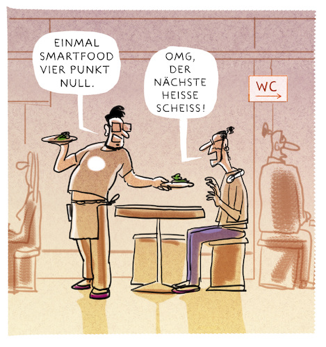 Cartoon: ...hitec-restaurant... (medium) by markus-grolik tagged smartfood,besser,essen,elite,ernährung,elitär,nahrungdigital,silikon,valley,hitec,smartfood,besser,essen,elite,ernährung,elitär,nahrungdigital,silikon,valley,hitec