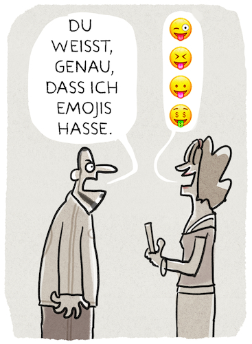 Cartoon: ..Kommunikation... (medium) by markus-grolik tagged emoji,zeichen,smartphone,handy,mann,frau,talk,kommunikation,emoji,zeichen,smartphone,handy,mann,frau,talk,kommunikation