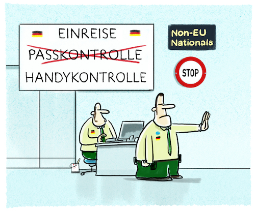 Cartoon: Passersatz (medium) by markus-grolik tagged bamf,bmi,einreise,ausreise,deutschland,handy,pass,ausweispflicht,bamf,bmi,einreise,ausreise,deutschland,handy,pass,ausweispflicht
