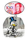 Cartoon: Dollar meets yuan (small) by markus-grolik tagged china usa amerika vereinigte staaten finanzen finanzmarkt staatsanleihen geld kohle macht kraefteverteilung international