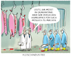 Cartoon: Fleischindustrie.... (small) by markus-grolik tagged grolik,ansteckung,metzger,industrie,fleischkonsum,billigfleisch,nahrungsmittel,fleischindustrie,corona,homeoffice,quarantaene