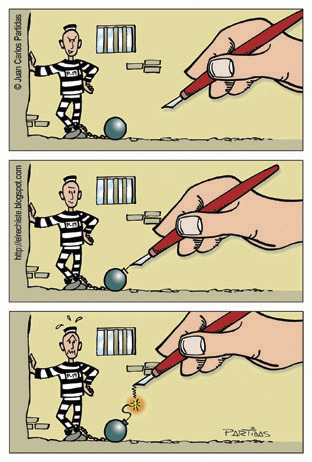Cartoon: Boom (medium) by Juan Carlos Partidas tagged jail,convicted,preso,carcel,bomba,bomb,boom,pen,artist,cartoonist,pluma,artista,dibujante,caricaturista