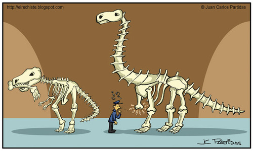 Cartoon: Mysterious (medium) by Juan Carlos Partidas tagged bones,skeleton,dinosaur,tyrannosaurus,rex,brontosaurus,museum,security,guard,shift,lost,paleontology