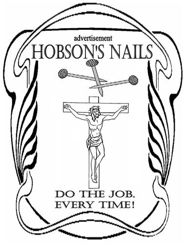 Cartoon: advert (medium) by Thamalakane tagged nails,advert,retro,crucifixion,jesus