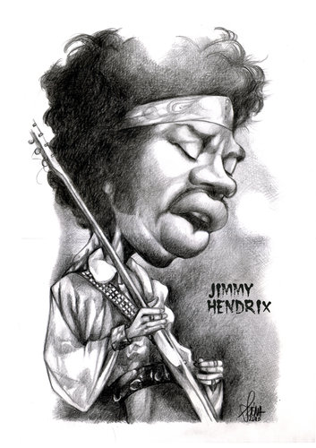 Cartoon: JImmy Hendrix (medium) by Szena tagged american,guitarist,singer,and,songwriter,caricatur