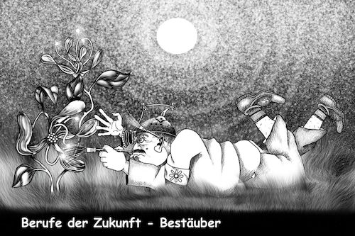 Cartoon: Bestäuber (medium) by petwall tagged insektensterben,umwelt,zerstörung,beruf,zukunft,dummheit,gier,arbeitsmarkt