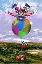 Cartoon: das Fliegen (small) by petwall tagged fliegen,clown,ballon,kick,sehnsucht