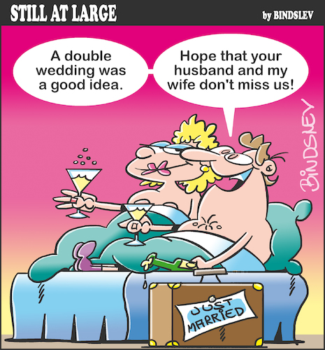 Cartoon: Still at large 71 (medium) by bindslev tagged just,married,honeymoon,honeymoons,affair,affairs,adulterer,adulterers,adultery,life,wedding,weddings,day,days,bride,brides,groom,grooms,bridegroom,bridegrooms,cheat,cheats,cheating,double,wife,swap,swaps,just,married,honeymoon,honeymoons,affair,affairs,adulterer,adulterers,adultery,sex,life,wedding,weddings,day,days,bride,brides,groom,grooms,bridegroom,bridegrooms,cheat,cheats,cheating,double,wife,swap,swaps