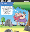 Cartoon: Still at large 106 (small) by bindslev tagged graveyard,graveyards,grave,graves,mourner,mourners,mourning,epitaph,epitaphs,obituary,obituaries,inscription,inscriptions,headstone,headstones,tombstone,tombstones,tomb,tombs,spelling,error,errors,mistake,mistakes,revenge,petty,pettiness,vengeance,irritation,irritant,irritants,cemetery,cemeteries