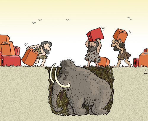 Cartoon: Mammoth and ballot-boxes (medium) by Vasiliy tagged ballot,box,stone,mammoth,hole,poll,election,politics,hunting,trap,pit,mining,people,vote,campaign,fight
