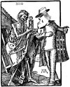 Cartoon: Death and Dealer (small) by Anjo tagged death,dealer,tod,händler,dürer,uhr,clock,lebenszeit,ende,end