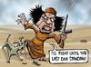 Cartoon: Gaddafi calls media dogs (small) by Satish Acharya tagged gaddafi,libya,foreign,media,arab,world