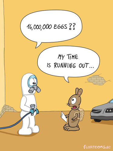 Cartoon: EASTER (medium) by fcartoons tagged cartoon,comic,varnisher,painter,suit,overall,gasmask,ask,rabbit,easterbunny,easter,schlauch,schutzanzug,eier,lackiererei,volvo,auto,lack,lackierer,osterhase,ostern,anfrage,hase,fragen