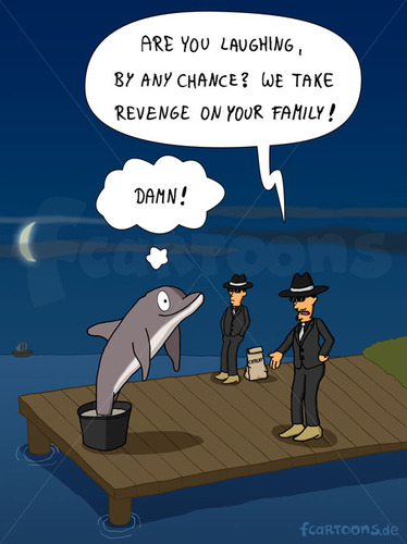 Cartoon: REVENGE (medium) by fcartoons tagged revenge,cement,dolphin,family,harbor,jetty,landing,mafia,port,stage,bootssteg,cartoon,delfin,delphin,dunkel,mond,nacht,rache,sonnenbrille,steg,zement