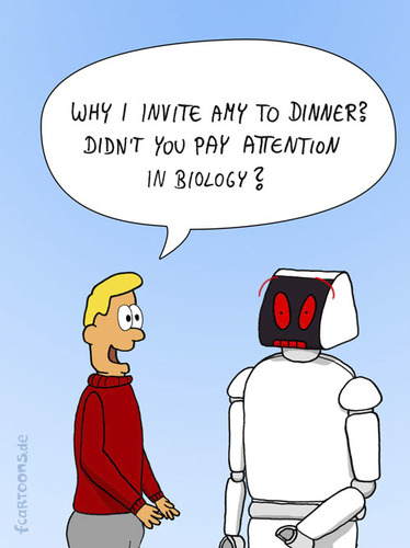 Cartoon: STUPID QUESTION (medium) by fcartoons tagged ask,cartoon,date,dinner,question,robot,story,tell,invite